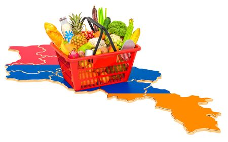 Market basket or purchasing power in Armenia concept. Shopping basket with Armenian map, 3D rendering isolated on white background
