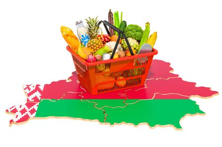 Market basket or purchasing power in Belarus concept. Shopping basket with Belorussian map, 3D rendering isolated on white background