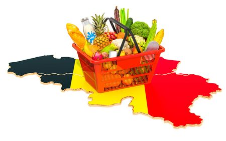 Market basket or purchasing power in Belgium concept. Shopping basket with Belgian map, 3D rendering isolated on white background