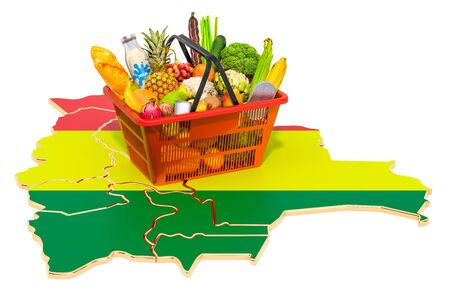 Market basket or purchasing power in Bolivia concept. Shopping basket with Bolivian map, 3D rendering isolated on white background