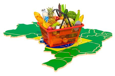 Market basket or purchasing power in Brazil concept. Shopping basket with Brazilian map, 3D rendering isolated on white background
