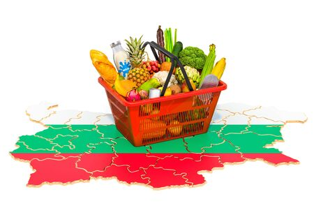 Market basket or purchasing power in Bulgaria concept. Shopping basket with Bulgarian map, 3D rendering isolated on white background