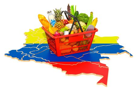 Market basket or purchasing power in Columbia concept. Shopping basket with Columbian map, 3D rendering isolated on white background 스톡 콘텐츠