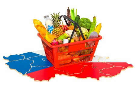 Market basket or purchasing power in Czech Republic concept. Shopping basket with Czech Republic map, 3D rendering isolated on white background