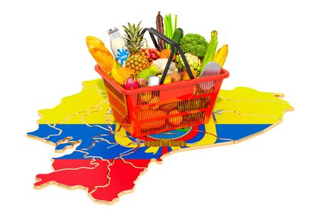Market basket or purchasing power in Ecuador concept. Shopping basket with Ecuadorian map, 3D rendering isolated on white background Stok Fotoğraf