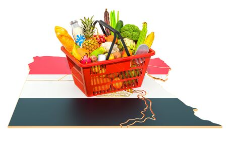 Market basket or purchasing power in Egypt concept. Shopping basket with Egyptian map, 3D rendering isolated on white background Stok Fotoğraf