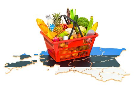 Market basket or purchasing power in Estonia concept. Shopping basket with Estonian map, 3D rendering isolated on white background