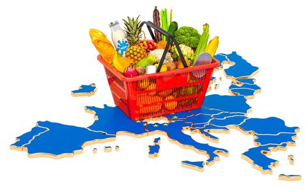Market basket or purchasing power in European Union the concept. Shopping basket with the EU map, 3D rendering isolated on white background