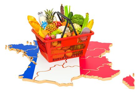 Market basket or purchasing power in France concept. Shopping basket with French map, 3D rendering isolated on white background