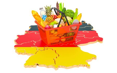 Market basket or purchasing power in Germany concept. Shopping basket with German map, 3D rendering isolated on white background