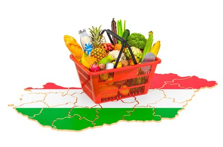Market basket or purchasing power in Hungary concept. Shopping basket with Hungarian map, 3D rendering isolated on white background Stok Fotoğraf