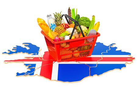Market basket or purchasing power in Iceland concept. Shopping basket with Icelandic map, 3D rendering isolated on white background