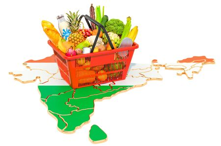 Market basket or purchasing power in India concept. Shopping basket with Indian map, 3D rendering isolated on white background