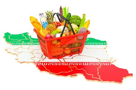 Market basket or purchasing power in Iran concept. Shopping basket with Iranian map, 3D rendering isolated on white background