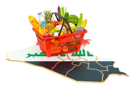 Market basket or purchasing power in Iraq concept. Shopping basket with Iraqi map, 3D rendering isolated on white background