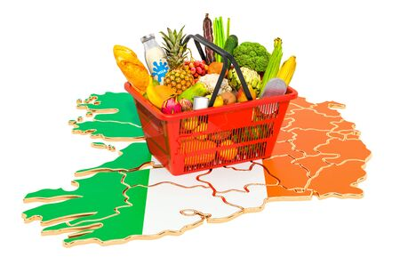 Market basket or purchasing power in Ireland concept. Shopping basket with Irish map, 3D rendering isolated on white background Stok Fotoğraf