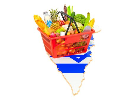 Market basket or purchasing power in Israel concept. Shopping basket with Israeli map, 3D rendering isolated on white background Stok Fotoğraf