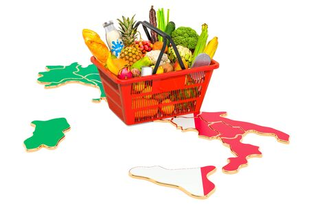 Market basket or purchasing power in Italy concept. Shopping basket with Italian map, 3D rendering isolated on white background