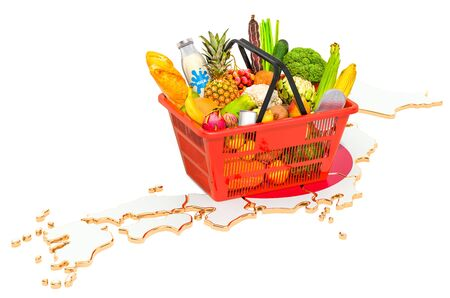 Market basket or purchasing power in Japan concept. Shopping basket with Japanese map, 3D rendering isolated on white background