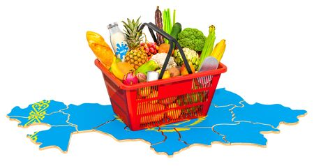 Market basket or purchasing power in Kazakhstan concept. Shopping basket with Kazakh map, 3D rendering isolated on white background