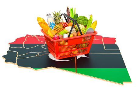 Market basket or purchasing power in Libya concept. Shopping basket with Libyan map, 3D rendering isolated on white background Stok Fotoğraf