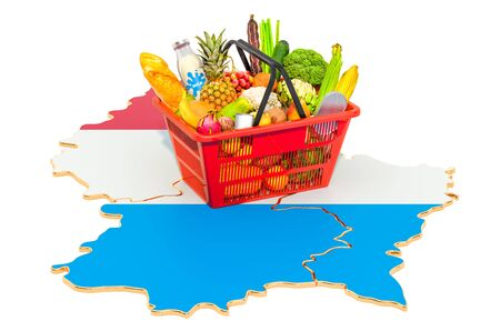 Market basket or purchasing power in Luxembourg concept. Shopping basket with Luxembourgish map, 3D rendering isolated on white background Stok Fotoğraf