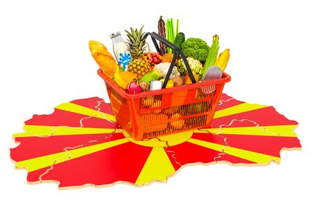 Market basket or purchasing power in Macedonia concept. Shopping basket with Macedonian map, 3D rendering isolated on white background