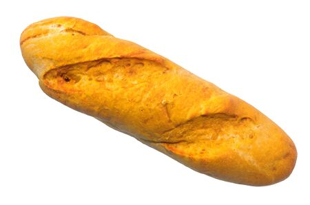 Baguette with crispy crust close-up 3d rendering with realistic texture isolated on white background Stock Photo