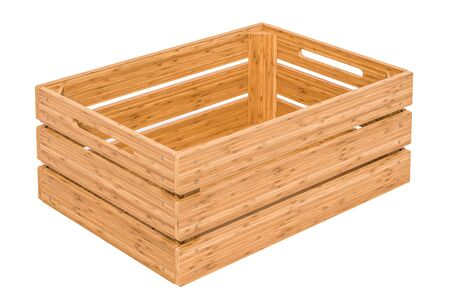 Empty wooden crate, 3D rendering isolated on white background
