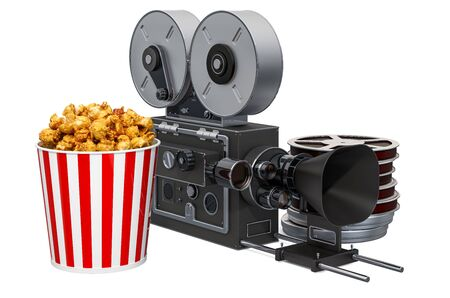 Movie camera with popcorn container. Cinema concept, 3D rendering isolated on white background