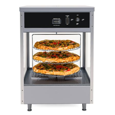 Open View Pizza Merchandiser with Pizza inside, 3D rendering isolated on white background
