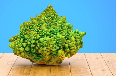 Romanesco broccoli close-up 3d rendering with realistic texture on the wooden table Stok Fotoğraf