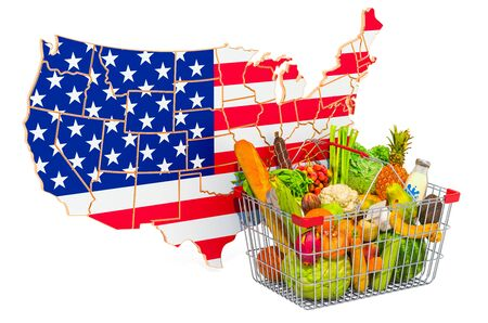 Purchasing power and market basket in the USA concept. Shopping basket with American map, 3D rendering isolated on white background