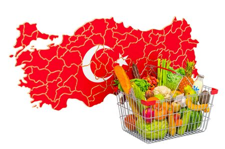 Purchasing power and market basket in Turkey concept. Shopping basket with Turkish map, 3D rendering isolated on white background