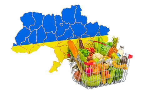 Purchasing power and market basket in Ukraine concept. Shopping basket with Ukrainian map, 3D rendering isolated on white background