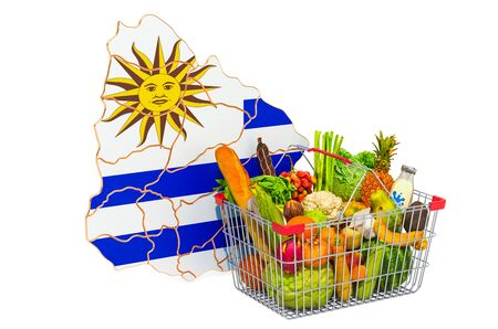 Purchasing power and market basket in Uruguay concept. Shopping basket with Uruguayan map, 3D rendering isolated on white background