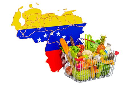 Purchasing power and market basket in Venezuela concept. Shopping basket with Venezuelan map, 3D rendering isolated on white background