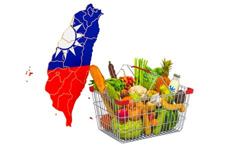 Purchasing power and market basket in Taiwan concept. Shopping basket with Thai map, 3D rendering isolated on white background