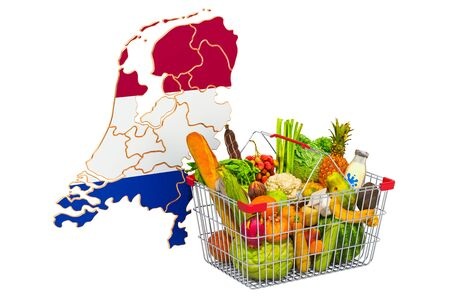 Purchasing power and market basket in the Netherlands concept. Shopping basket with Holland map, 3D rendering isolated on white background Stock Photo