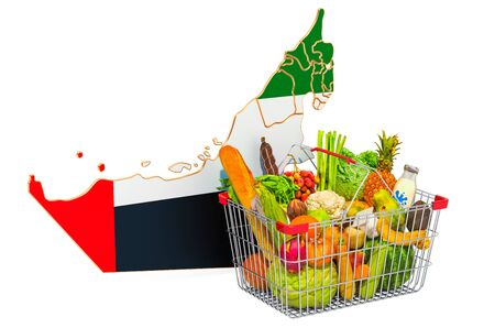 Purchasing power and market basket in the United Arab Emirates concept. Shopping basket with the UAE map, 3D rendering isolated on white background