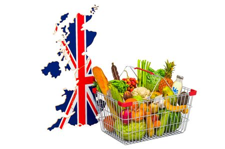 Purchasing power and market basket in the United Kingdom concept. Shopping basket with British map, 3D rendering isolated on white background
