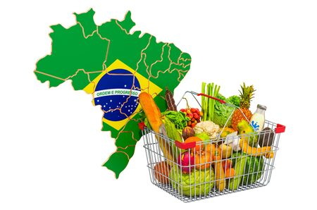 Purchasing power and market basket in Brazil concept. Shopping basket with Brazilian map, 3D rendering isolated on white background