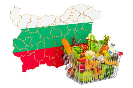 Purchasing power and market basket in Bulgaria concept. Shopping basket with Bulgarian map, 3D rendering isolated on white background Stock Photo