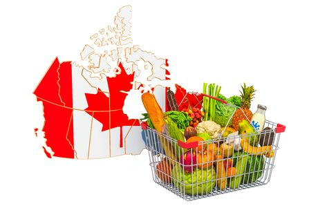 Purchasing power and market basket in Canada concept. Shopping basket with Canadian map, 3D rendering isolated on white background