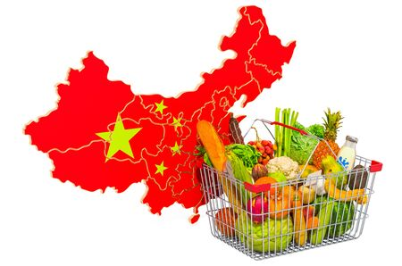 Purchasing power and market basket in China concept. Shopping basket with Chinese map, 3D rendering isolated on white background