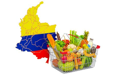 Purchasing power and market basket in Columbia concept. Shopping basket with Columbian map, 3D rendering isolated on white background
