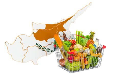 Purchasing power and market basket in Cyprus concept. Shopping basket with Cyprus map, 3D rendering isolated on white background Reklamní fotografie