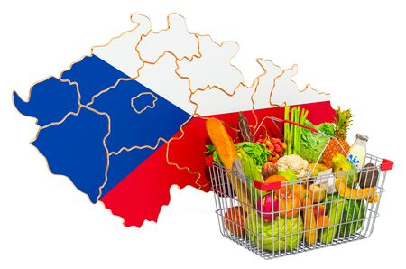 Purchasing power and market basket in Czech Republic concept. Shopping basket with Czech Republic map, 3D rendering isolated on white background