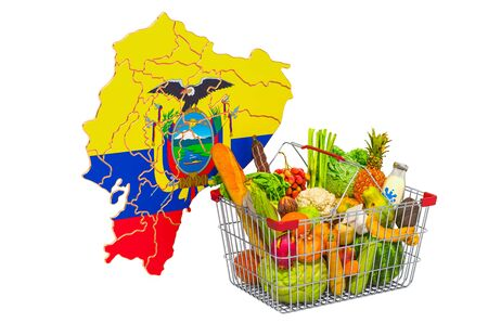 Purchasing power and market basket in Ecuador concept. Shopping basket with Ecuadorian map, 3D rendering isolated on white background
