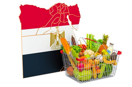 Purchasing power and market basket in Egypt concept. Shopping basket with Egyptian map, 3D rendering isolated on white background